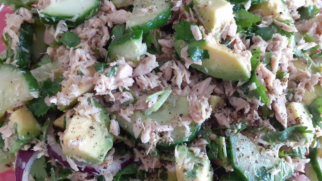 Healthy Avocado Tuna Salad recipe.Полизныи рецепт салата из тунца с авокадо.